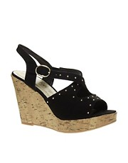 New Look Ginger Studded Crossover Wedge Sandals