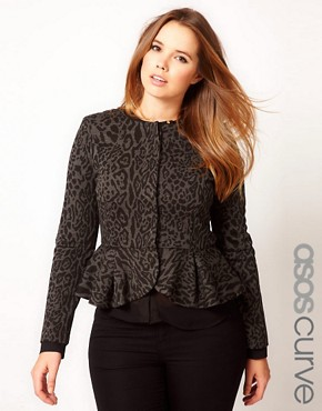 Image 1 ofASOS CURVE Peplum Jacket In Animal Print