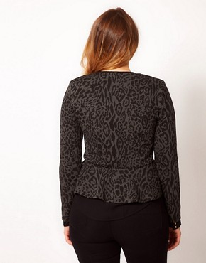 Image 2 ofASOS CURVE Peplum Jacket In Animal Print