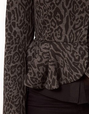 Image 3 ofASOS CURVE Peplum Jacket In Animal Print