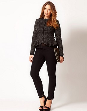 Image 4 ofASOS CURVE Peplum Jacket In Animal Print