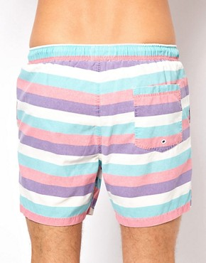 Image 2 ofASOS Stripe Swim Shorts With Acid Wash