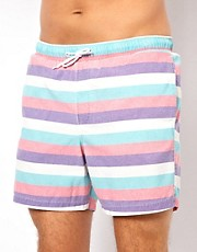ASOS Stripe Swim Shorts With Acid Wash