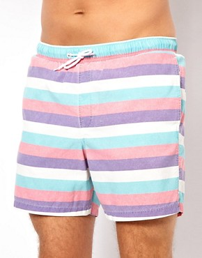 Image 1 ofASOS Stripe Swim Shorts With Acid Wash