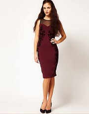 River Island Flocked Bodycon Dress