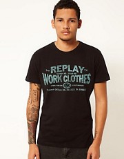Replay T-Shirt Logo Work Clothes Print