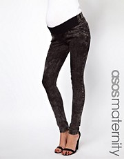 ASOS Maternity Ridley Supersoft Ultra Skinny Jeans in Black Acid Wash