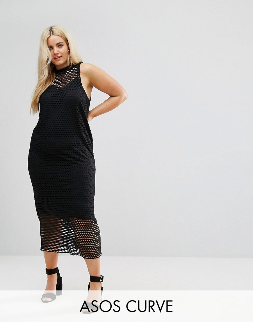 ASOS CURVE 2 in 1 Maxi Dress In Large Mesh - Black
