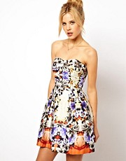 ASOS Premium Bandeau Mirror Floral Skater Dress