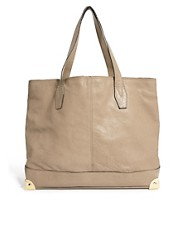 Warehouse Leather Metal Corners Shopper