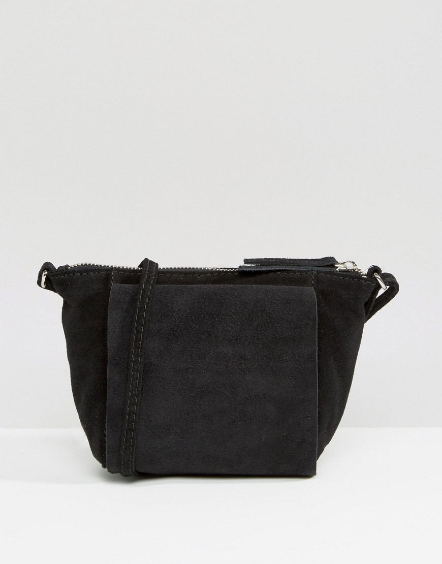 ASOS Festival Suede Cross Body Bag - Black