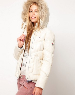 Image 1 of Hilfiger Denim Padded Coat With Faux Fur Edged Hood