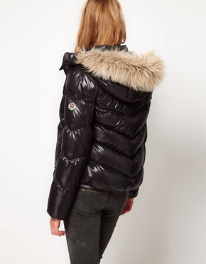 Image 2 of Hilfiger Denim Padded Coat With Faux Fur Edged Hood