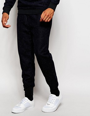 2x H Brothers Skinny Wool Mix Joggers In Pinstripe
