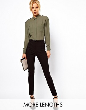Image 1 ofASOS High Waist Belted Trousers In Skinny Fit