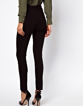 Image 2 ofASOS High Waist Belted Trousers In Skinny Fit