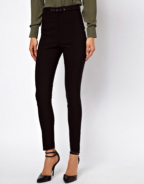Image 4 ofASOS High Waist Belted Trousers In Skinny Fit