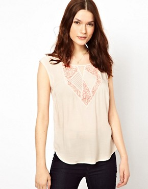 Image 1 ofWarehouse Lace Insert Top With Bright Stitch