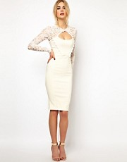 Tempest Dolly Pencil Dress with Lace Sleeve and Beaded Collar