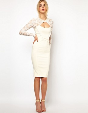 Image 1 ofTempest Dolly Pencil Dress with Lace Sleeve and Beaded Collar
