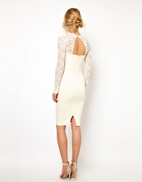 Image 2 ofTempest Dolly Pencil Dress with Lace Sleeve and Beaded Collar