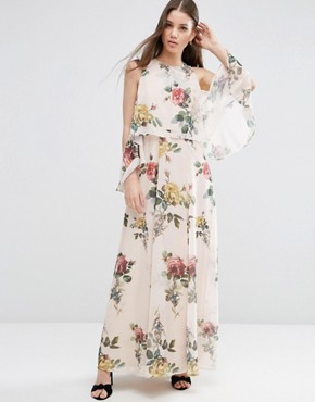 ASOS Extreme Cold Shoulder Floral Maxi Dress