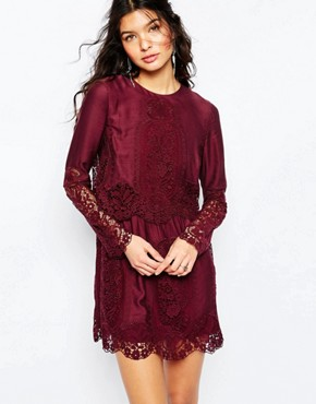 The Jetset Diaries Verona Short Dress in Bordeaux