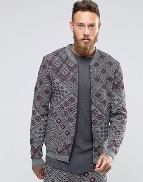 ASOS Knitted Bomber Jacket with Aztec Design