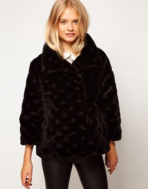 Image 1 ofASOS Short Fur Swing Coat