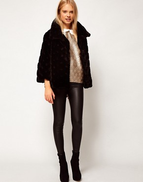 Image 4 ofASOS Short Fur Swing Coat