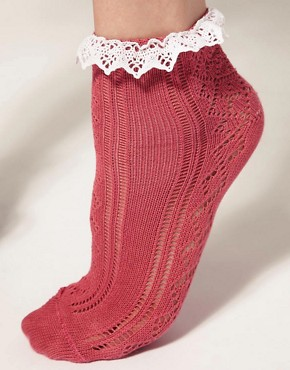 Image 2 ofASOS Lace Trim Pelerine Sock