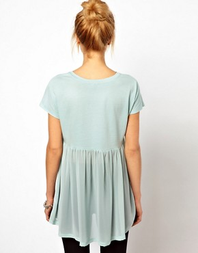Image 2 of ASOS T-Shirt with Pocket and Woven Hem