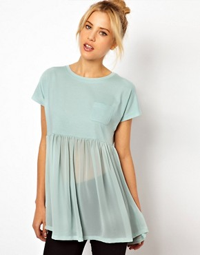 Image 1 ofASOS T-Shirt with Pocket and Woven Hem