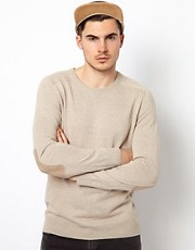 River Island Crew Neck Jumper With Elbow Patch