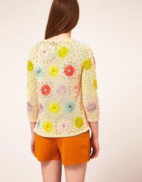 Image 2 ofASOS Cardigan With Floral Stitch