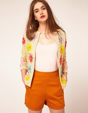 Image 1 ofASOS Cardigan With Floral Stitch