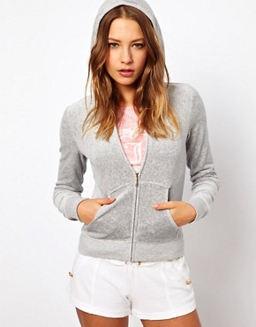 Image 1 ofJuicy Couture Long Sleeve Zip Through Hoodie with Logo
