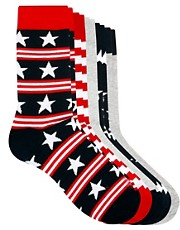 River Island 5 Pack Stars &amp; Stripes Socks