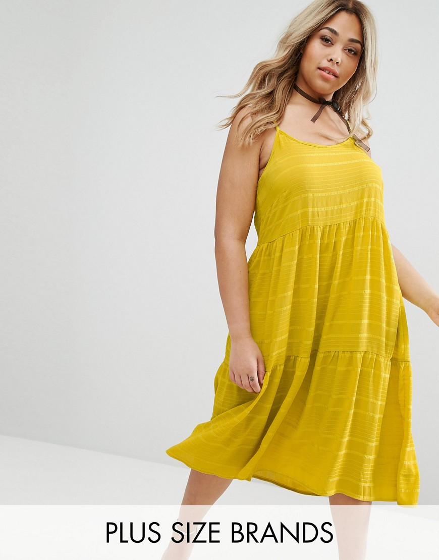 Lost Ink Plus Cami Tiered Smock Dress - Yellow