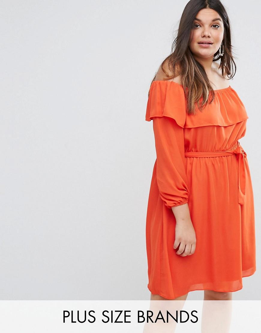 Lovedrobe Off The Shoulder Ruffle Dress - Tangerine
