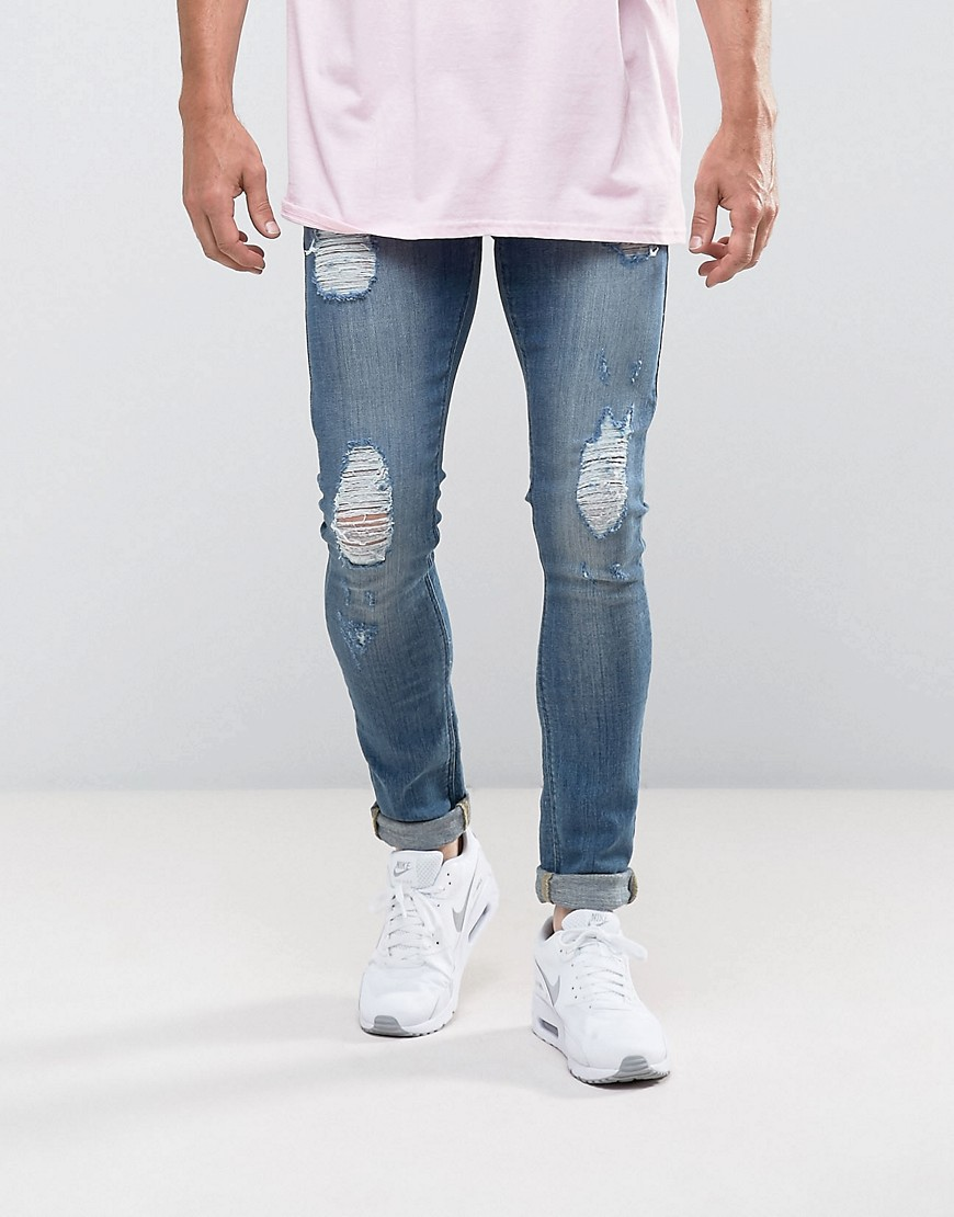 ASOS Extreme Super Skinny Jeans In Light Wash With Rips - Light wash blue