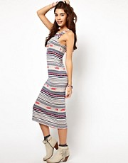 ASOS Maxi Bodycon Dress In Stripe Navaho Print