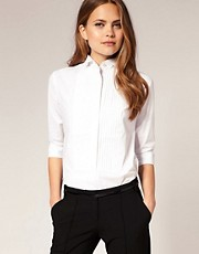 ASOS Pintuck Winged Collar Shirt