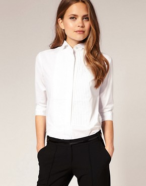 Image 1 ofASOS Pintuck Winged Collar Shirt