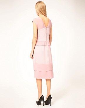 Image 2 ofASOS Shift Midi Dress with Pleats