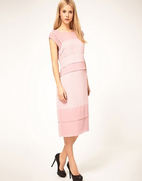 Image 4 ofASOS Shift Midi Dress with Pleats