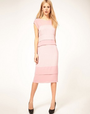 Image 1 ofASOS Shift Midi Dress with Pleats