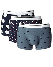 ASOS Three Pack Trunks With Spot Print