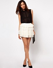 Vila Tiered Lace Skirt