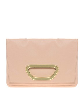 Image 1 ofASOS Fold-over Metal Plate Clutch Bag